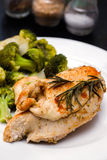 Steamed chicken breast with vegetables Royalty Free Stock Photo