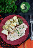 Steamed chicken breasts with potatoes and green beans Stock Photos