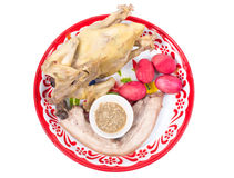 Steamed chicken, pork and egg on tray for Chinese new year celebration isolated Royalty Free Stock Photography