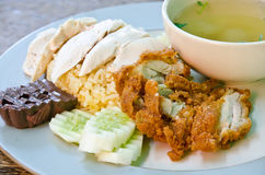 Steamed chicken with rice. Stock Images