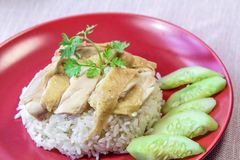 Steamed chicken with rice - Food Staple, Hainanese, Singapore. Royalty Free Stock Photo