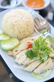Steamed chicken with rice , khao mun kai Stock Photography