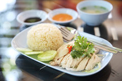 Steamed chicken with rice , khao mun kai Royalty Free Stock Images