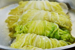 Steamed Chinese cabbage stuffed chop pork and Indian mushroom on pot Royalty Free Stock Photo