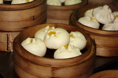 Steamed Chinese dumplings on Asian food street Stock Photos
