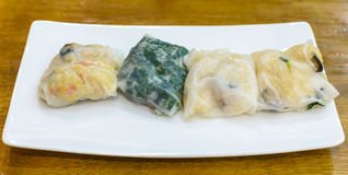 Steamed Chives Dumplings. Steamed Chives Dumplings on white plate Royalty Free Stock Photos