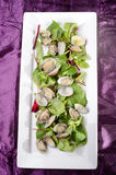 Steamed clams with salad on a plate Stock Photography