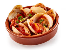 Steamed clams in a spicy piquant sauce Royalty Free Stock Photo
