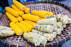 Steamed corn on basket; Organic healthy food in Thailand Stock Photography