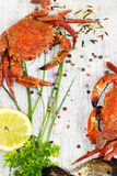 Steamed crab with fresh lemon and aromatic herbs on wooden backg Royalty Free Stock Image