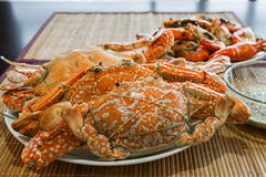 Steamed crab in plate on the table Royalty Free Stock Images