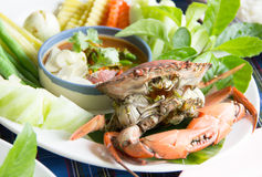 Steamed crab and simmer chili crab with vegetable Royalty Free Stock Photos