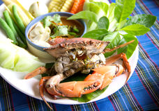 Steamed crab and simmer chili crab with vegetable Stock Photos