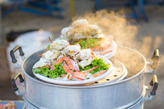 Steamed crab on Steamer Royalty Free Stock Photos