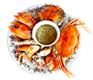 Steamed crab with Thai spicy sauce Royalty Free Stock Images
