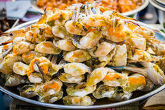 Steamed Crab in a tray . street food at Bangkok chinatown market Stock Images