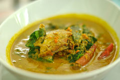 Steamed crab in yellow curry. Thai dish stock image