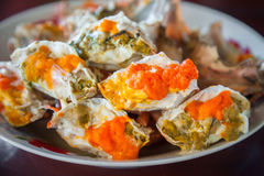 Steamed crabs and crab`s spawn with seafood spicy sauce Thai seafood Stock Photos