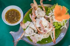 Steamed Crabs with salad and Thai spicy sauce. stock photography