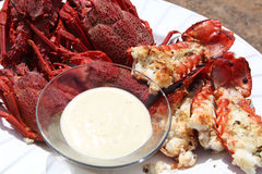 Crayfish and dip. Steamed crayfish with a creamy dip served as a starter stock photography