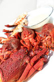 Crayfish and dip. Steamed crayfish with a creamy dip served as a starter royalty free stock images