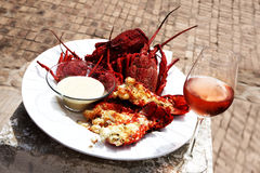 Crayfish and dip. Steamed crayfish with a creamy dip served as a starter royalty free stock photography