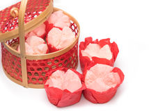 Steamed cupcake with red paper in red basket ,Dessert for chines Royalty Free Stock Photography