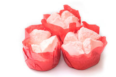 Steamed cupcake with red paper in red basket Stock Images