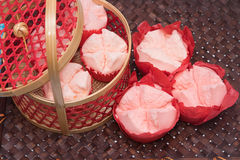 Steamed cupcake with red paper in red basket Royalty Free Stock Photos