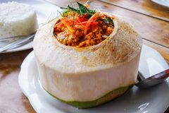 Steamed curry fish, shrimps and squid in coconut. 2 stock image
