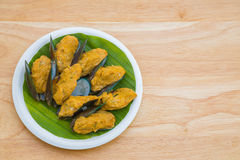 Steamed curry seafood cake Stock Photos