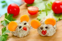 Steamed cutlet shaped mouse for kids. Lunch stock photos