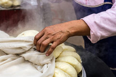 Steamed dumpling(salapao) hot from the oven in the morning at ma Stock Photography