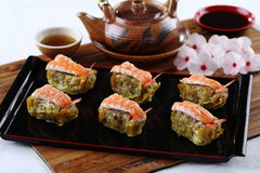 Steamed dumpling (Shrimp Shumai). Chinese snacks made from rice or wheat dough topped with pork and shrimp Royalty Free Stock Photography