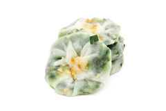Steamed dumpling stuff with garlic chive. S on white background royalty free stock photo
