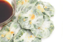 Steamed  dumpling stuff with garlic chives Stock Images