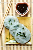 Steamed dumpling stuffed with garlic chives (Chinese chives). Royalty Free Stock Image