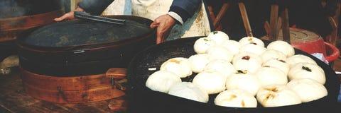 Steamed Dumplings Asian Culture Street Food Concept Stock Photo