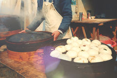 Steamed Dumplings Asian Culture Street Food Concept Royalty Free Stock Photo