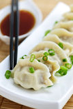 Steamed dumplings and soy sauce Stock Photography