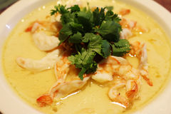 Steamed egg and milk with Shrimp Stock Photography