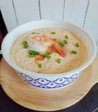 Steamed egg with shrimp stock photo