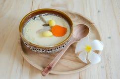 Steamed egg on wood background Stock Image