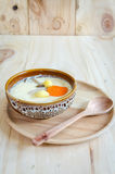 Steamed egg on wood background Royalty Free Stock Photography