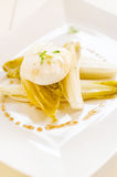 Steamed endives. With poached egg Royalty Free Stock Image