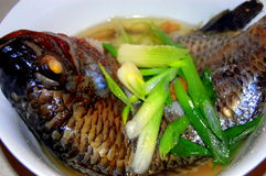 Steamed fish. A bowl of steamed fish is ready to serve Royalty Free Stock Photography