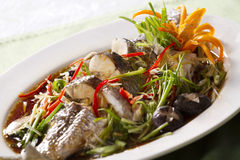 Steamed fish. Snake-head fish steamed with soy sauce Royalty Free Stock Photography
