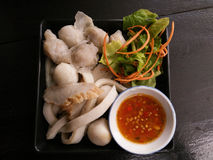 Steamed fish balls and fish plate with spicy dip Stock Image