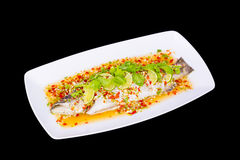 Steamed fish, Chinese style steamed fish in spicy sauce Stock Photography