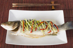 Cantonese Steamed Fish Stock Photo